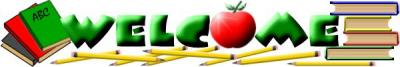 Welcome banner with apples and books