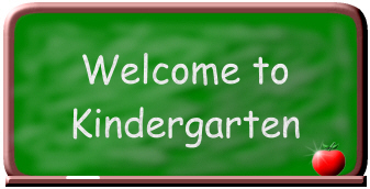 Chalkboard is color green writing is in white that says welcome to kindergarten