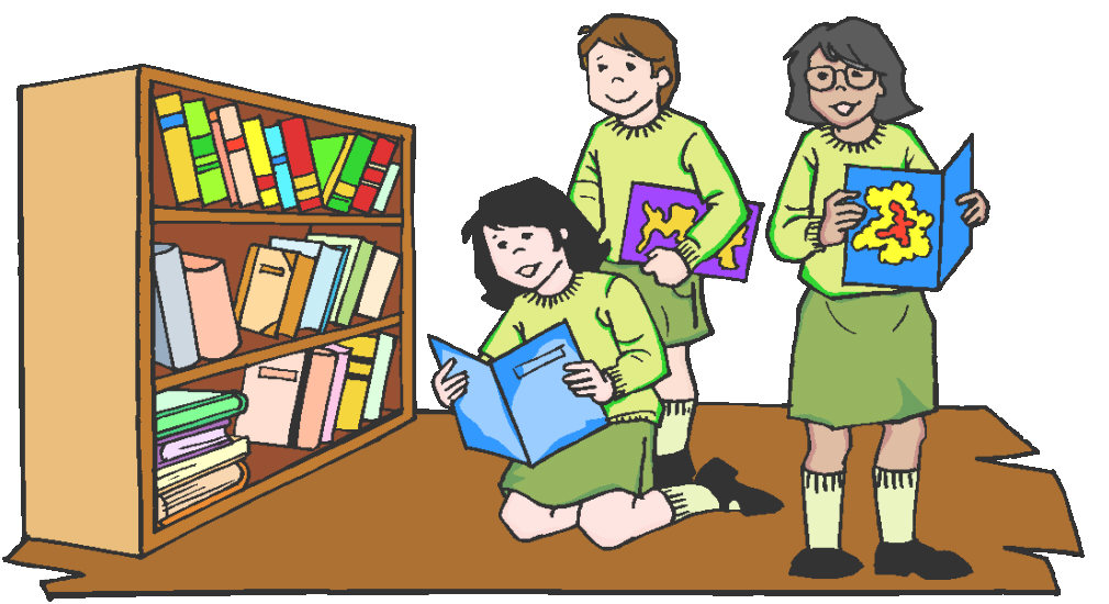 Three students looking for books